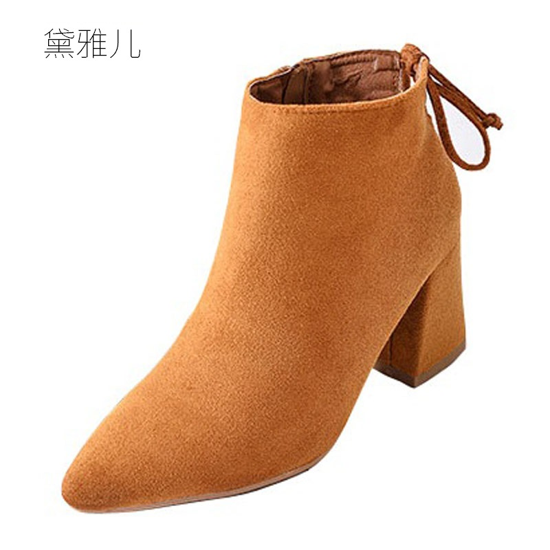 2018 Spring Autumn Fashion Yellow Pointed Toe High Heel Ankle Boots for Women Ladies Female Shoes Woman Girl Black
