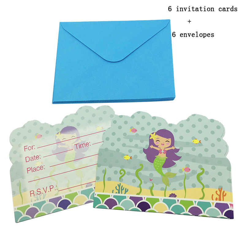 6pcs Lot New Lovely Cartoon Little Mermaid Invitation Card With Envelope For Girls Birthday Party Supplies Decoration