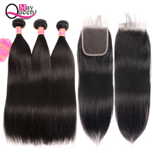 hot deal buy straight hair bundles with closure 8-26 inch non-remy human hair bundles with closure brazilian hair weave bundles with closure