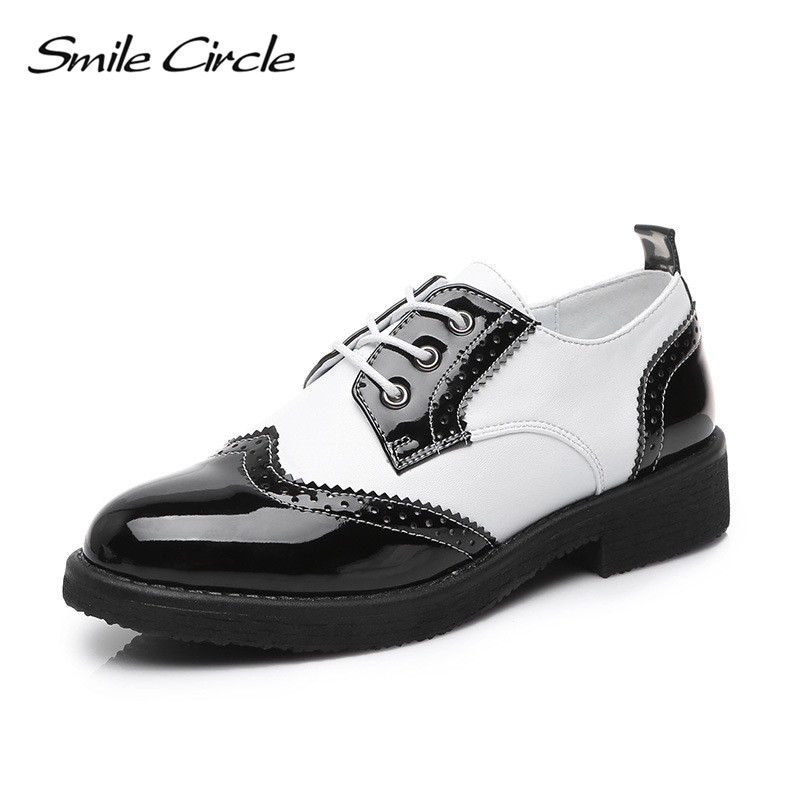 Smile Circle 2018 Women Oxford Shoes Patent leather Lace-up Flats Shoes Women boat Shoes Pointed toe Flats Casual Shoes pu pointed toe flats with eyelet strap