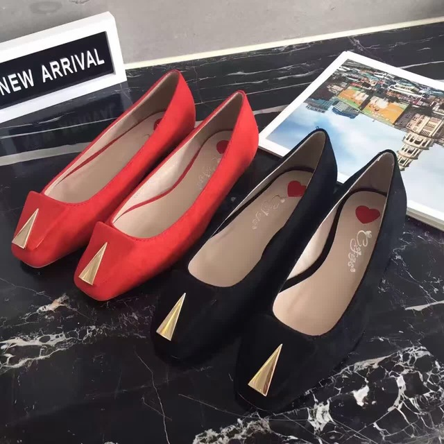 2016 Women Flats Square Toe Red Black Chaussures Femmes Flat Shoes Women Suede Comfort Walking Office Shoes