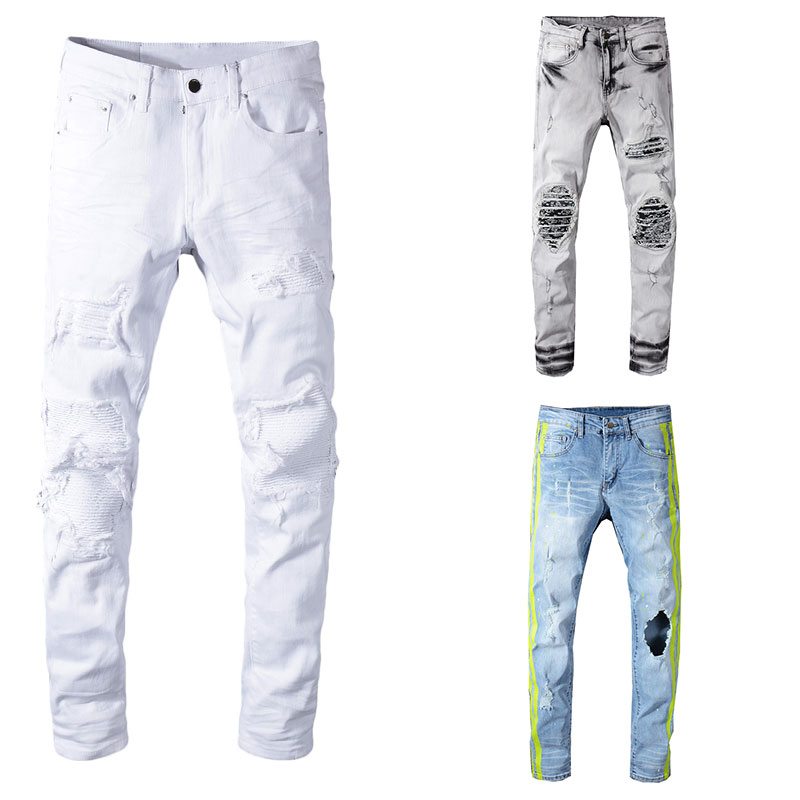 2019 nowy włoski styl mody Skinny dżinsy Stretch na co dzień mężczyźni jeansy projektant klasyczne dżinsy mężczyźni wysokiej jakości męskie Jeans w Dżinsy od Odzież męska na  Grupa 1