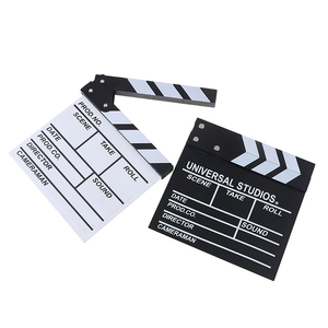 Image 4 - 20*20 cm מנהל וידאו אקריליק עץ יבש למחוק טלוויזיה סרט סרט קלאפר לוח צפחה עם צבע מקלות