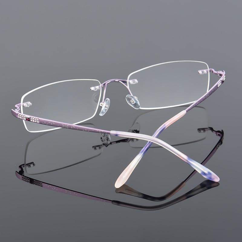 2017 XINZE New Pure Titanium Fashionable Lady Eye Glasses Diamonds - Kläder tillbehör - Foto 3