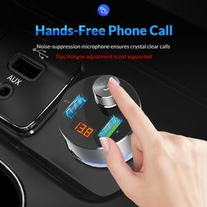 Image 3 - TOPK bezprzewodowa ładowarka samochodowa nadajnik bluetooth fm zestaw głośnomówiący samochodowy sprzęt audio MP3 odtwarzacz QC3.0 szybkie ładowanie podwójna ładowarka samochodowa usb