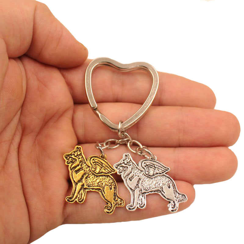 2019 German Shepherd Dog  Animal Antique Gold Silver Plated Metal Pendant Keychain For Bag Car Women Men Love Jewelry K175