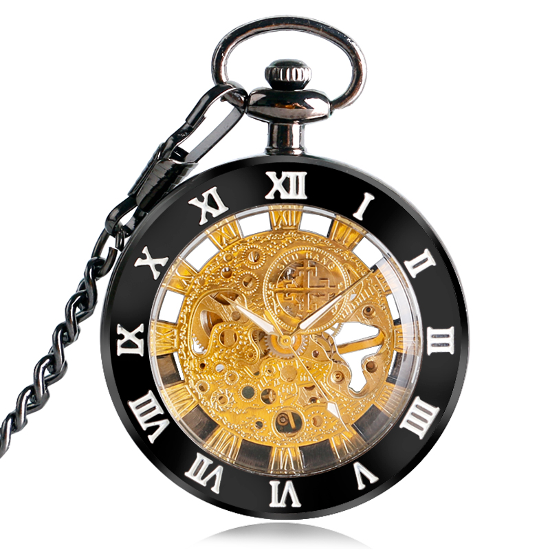 Luxury Gold Dial Skeleton Retro Open Face Mechanical Black Case Stylish Pendant Women Roman Numerals Fashion Pocket Watch Gifts roman numerals skeleton watches steampunk pocket watch with chain 2 sides open case luxury brand mechanical pocket watch