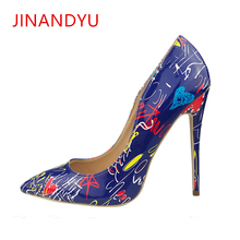 2019 Pump High Heels for Woman Sexy Lady Spring Wedding Party Women Stiletto Shoes Graffiti Colorful Pumps Size 42