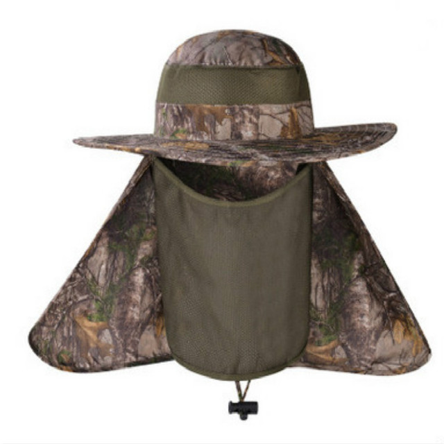 b5f4a914263 Which in shower Wide Brim Camouflage Hat With Rear and Face Veil UV  Protection Bionic Bucket Hat Face Neck Protection Sun Cap