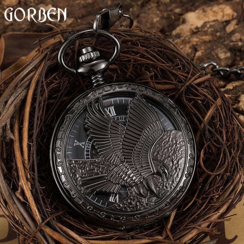 Vintage Black Eagle Hand-wind Mechanical Pocket Watch Mens FOB Waist Chain Hollow Skeleton Roman Dial Watch Male Clock Present