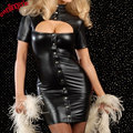 Drop Shipping Sexy Cheap Lady Black Vinyl Leather Clubwear Clothes Hollow Out Bust Clubwear Mini Dress Snaps Front,Bandage Back