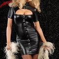 Envío de la gota Sexy Lady Barato Negro Vinilo Cuero Clubwear Ropa Ahueca Hacia Fuera el Busto Clubwear Mini Vestido de Encaje Frontal, Vendaje volver