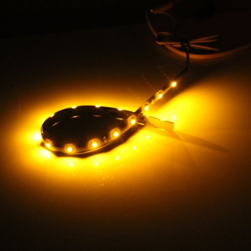 FDDT 20x 30cm Orange Waterproof 15 LED Flexible Car Grill Strip Light Lamp Bulb