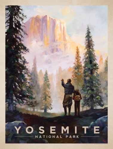 Yosemite Vintage Art Poster Travel Photo SILK POSTER Decorative Wall painting 24x36inch