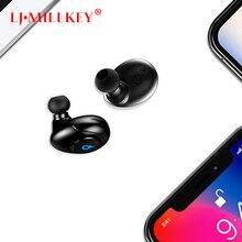 TWS Bluetooth Fone de Ouvido com Microfone Mini Hifi Sem Fio do fone de Ouvido Fones de Ouvido Sem Fio para Telefone com Caixa Carregador LJ-MILLKEY YZ143