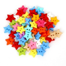 50-100PCS 12mm 16mm 2 Holes Multicolor Star Decorative Buttons Sewing Scrapbooking Crafts For Clothes