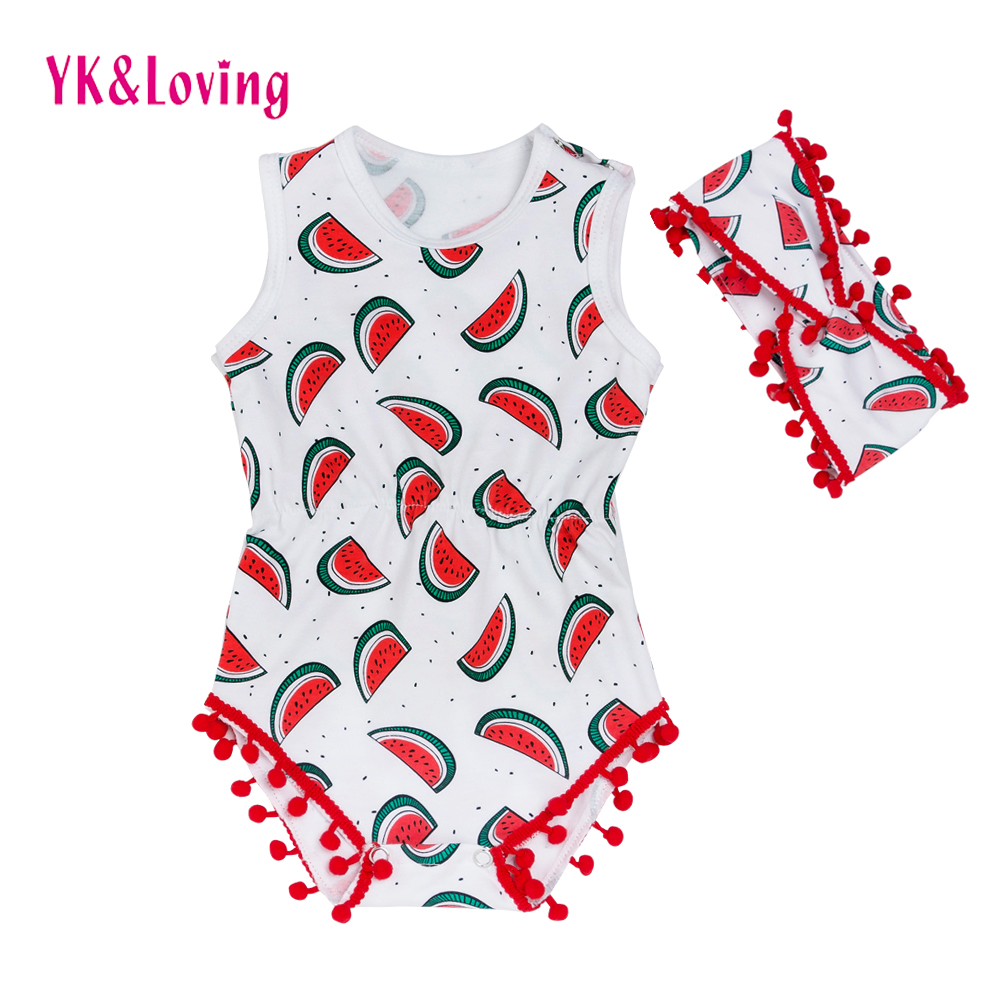 Summer Stlye Baby   Rompers   Watermelon Beach Overalls Girls Dot Fashion Cotton Jumpsuit Newborn Infant One-Piece Leisure Clothes