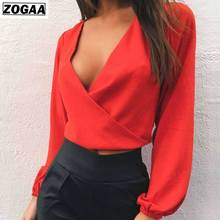 New Spring Backless Sexy Deep V-collar Blouse Long Sleeves Pure Color Pollover Chiffon Shirt For Fashion Ladies In 2019 ZOGAA