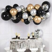 40pcs Birthday Party Decoration Balloons Kids Adult Air Bal Mixed Black Chrome Gold Silver Wedding Garland