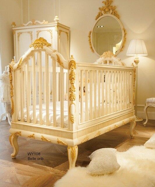 Lujo europeo blanco y oro cuna de madera cuna de haya alemana en Los ...