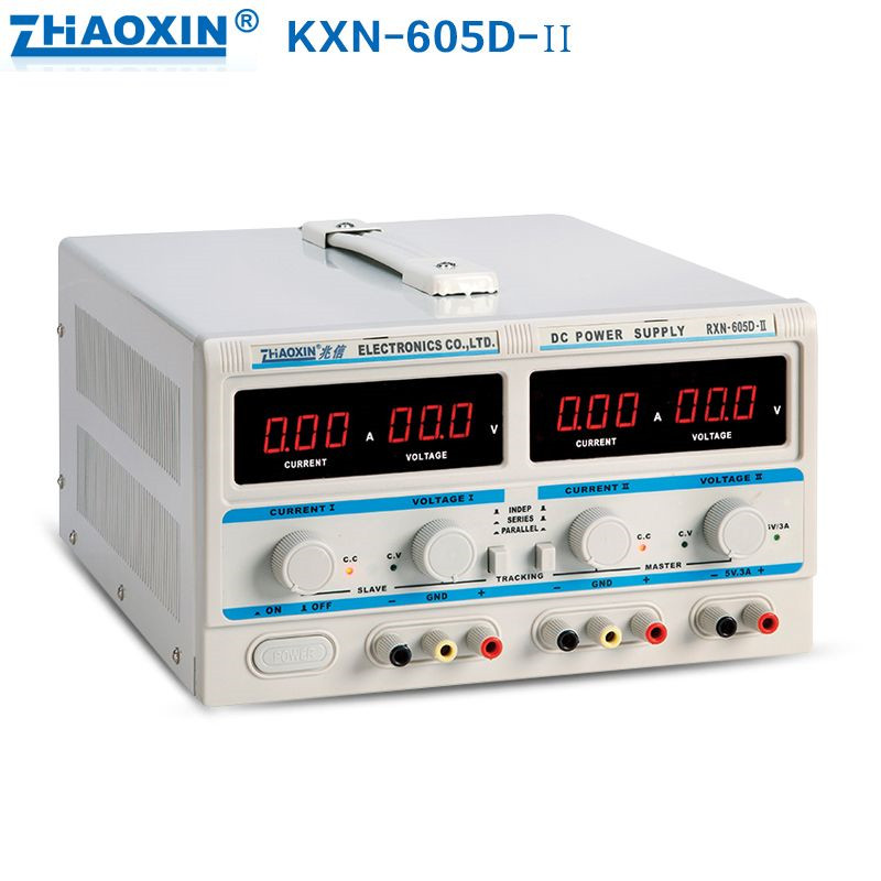 RXN-605D-II Dual Digital DC Power Supply 0-60V / 0-5A Dual Adjustable 0.1V 0.01A C.V. / C.C. automatically switches dc power supply uni trend utp3704 i ii iii lines 0 32v dc power supply