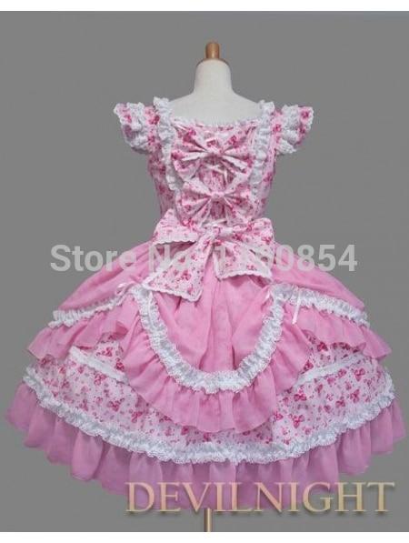 Et Doux Blanc Motif Robe Cap Manches Arc Multi Imprimé Rose Lolita Floral dq50xBnw