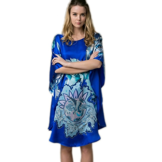 100% Mulheres De Seda Real Solto Homewear Loungewear Noite Saia Uma Peça Plus Size Desgaste Casa Pintados À Mão Azul Nightgowns YBS00802