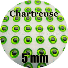 5mm, Chartreuse Color / Wholesale 700 Soft Molded 3D Holographic Fish Eyes, Fly Tying, Jig, Lure Making, 3/16″