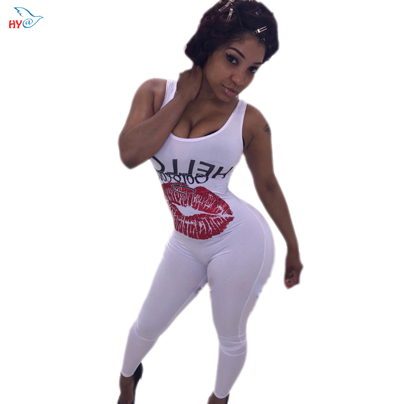 2016  New Arrive Summer Style Round Neck Sleeveless Letter and Lip Print Jumpsuit  For Womens Clothing