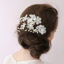 Handmade Pérola o Acessório de Cabelo Noiva Moda de Luxo Vestido de Noiva Estética Acessórios De Noiva Styling Ferramentas Flor Branca