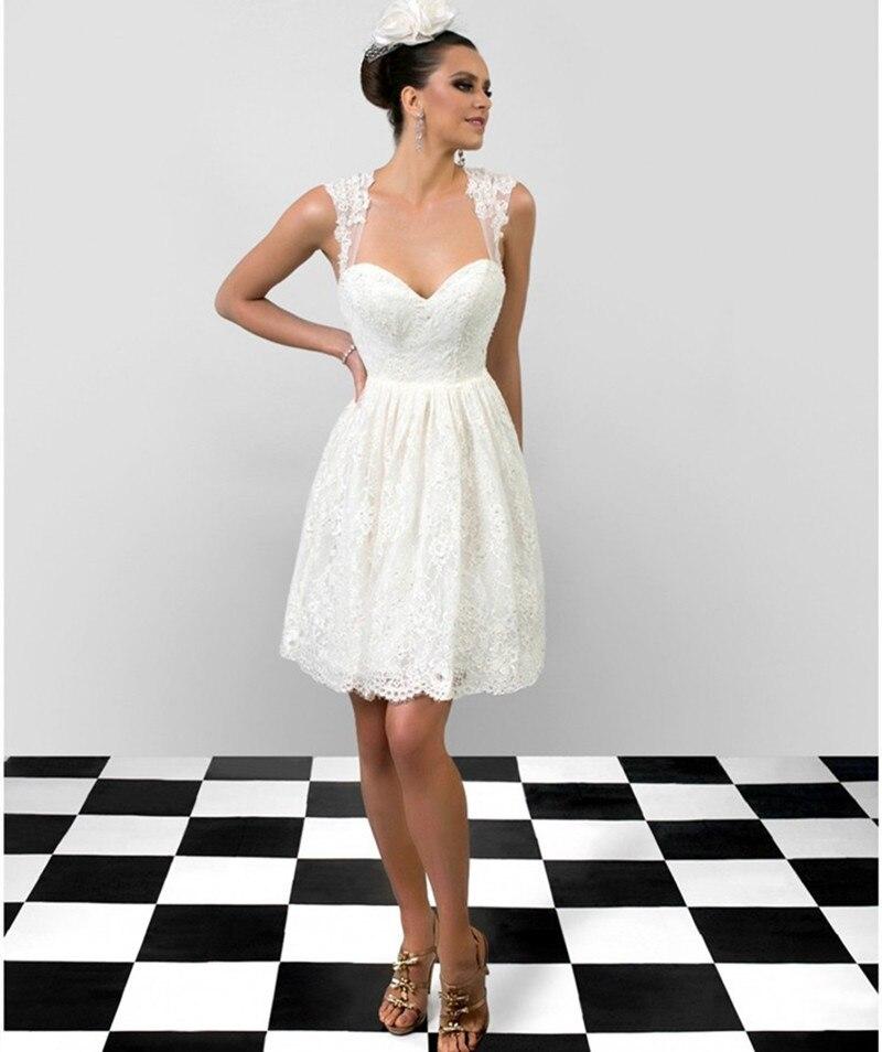 Fashionable Short Wedding Dresses 2015 White Lace Bridal Dresses ...