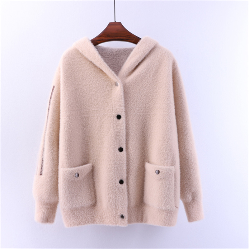 Rice Chandails Manteau Vison blue Mode Hiver black dark Cardigan Chaud pink Survêtement Brown Capuche Broderie Cachemire À Purple red light Lâche De Tricoter caramel Colour Doux camel Femmes Automne White Chandail 7UqwXWaX