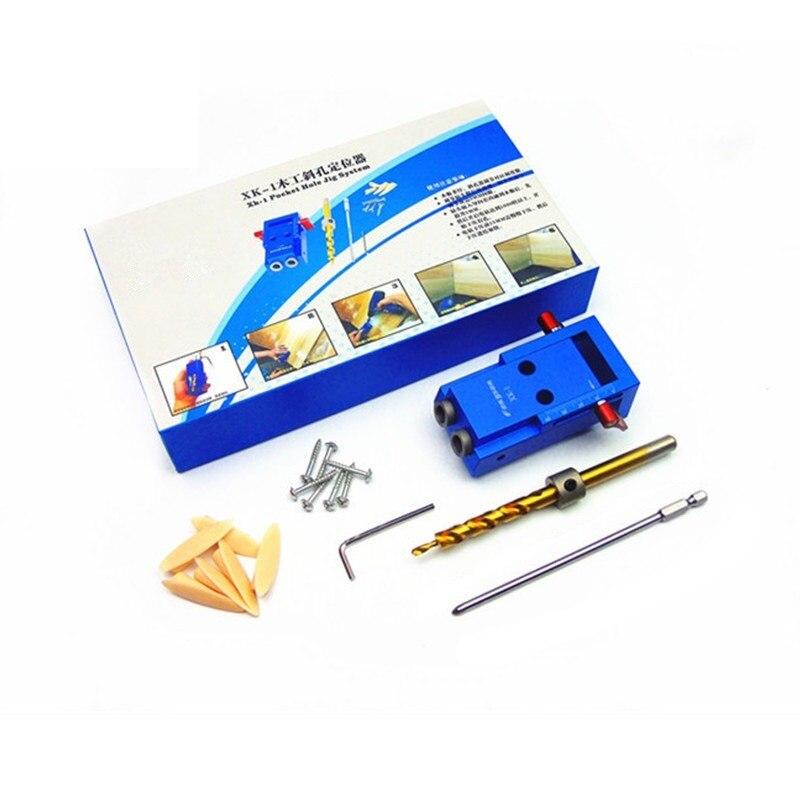 Mini estilo Kreg agujero de bolsillo Sistema de Kit para el trabajo de madera y carpintería + paso broca y accesorios herramienta de trabajo conjunto con la Caja