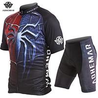 Adhemar короткий рукав для мужчин Велоспорт одежда трикотажные изделия из полиэстера комплект мужчин Джерси лето велосипедный спорт одежда