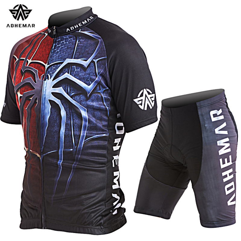 Adhemar short sleeve men cycling clothes polyester jersey set Summer bicycle