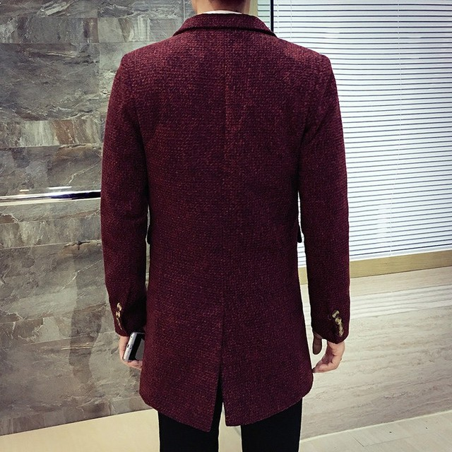 British Autumn Winter Mens Wool Coat Slim Fit Sobretudo Large Size M-5XL Male Trench Turn Down Collar Business Casual Overcoats 3