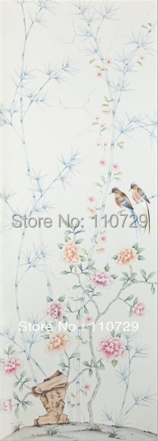 Home decoration wall material Hand-painted silk wallpaper painting flowers with birds sticker many pictures optonal diy beads painting flower cross stitch wall decoration