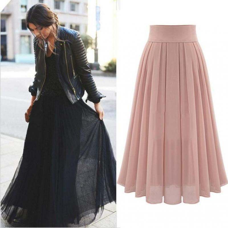 2019 European Station Summer New Fashion Fairy Temperament Elegant Long Pleated Skirt Chiffon Clothes