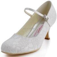 ElegantPark EP1085 Ngà Phụ Nữ Giày Mary-jane Bơm Đảng Vòng Toe Heel Low Lace Satin Khóa Wedding Bridal Prom ăn mặc Giày
