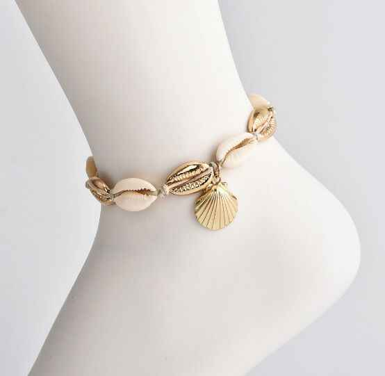 1pc lato plaża Tassel muszla wisiorek stóp bransoletka na kostkę czeski Metal powłoki złota muszelki ręcznie na drutach liny łańcuch kobiet 8426
