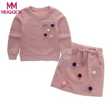 f95728c495 (Ship from US) 2018 Toddler Kids Baby Girl Pom Pom Pullover Sweatshirt Tops+Skirt  Outfit Set knit for Girls Clothes Conjunto Infantil Menina