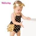 Verão Babados baby girl Romper Bolinhas Bolha Meninas Bloomer + Headband 2016 Trajes De Algodão Do Bebê Recém-nascido roupas roupas de bebe