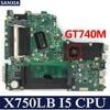 Kefu X750LB Scheda Madre Del Computer Portatile per Asus X750LB X750LA X75LN X750L X750 Prova Mainboard Originale I5 Cpu GT740M|Schede madre|   -