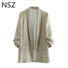 NSZ Women Cotton Linen Blazer Feminino Suits None Button Pocket Office