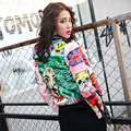 BringBring 2017 Spring Crazy Style Graffiti Print Jacket Women Space Cotton Short Jackets and Coats Rivet chaquetas mujer 1740