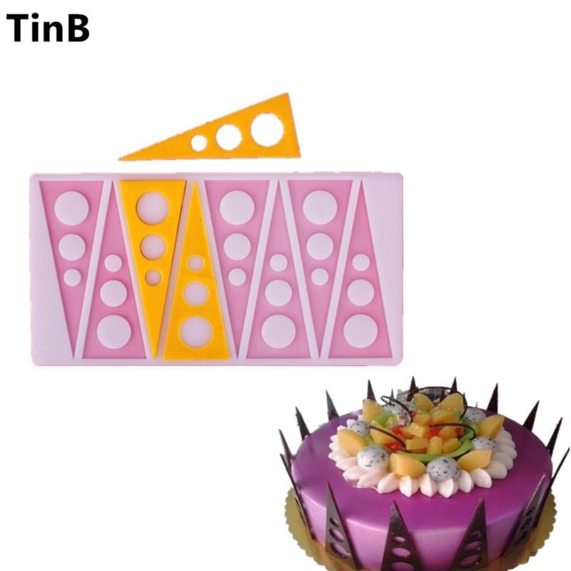 Hot cerc triunghiular Tort Mold Mold silicon Instrumente de coacere Accesorii de bucatarie Decoratiuni pentru prăjituri Chocolate Mold Mold Silicon