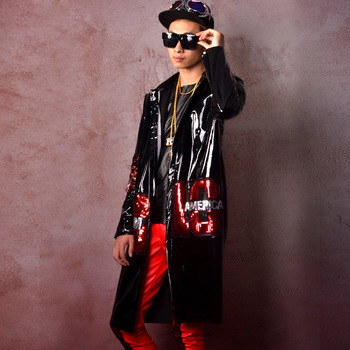 Men Sequin Splice Leather Trench Jacket Male Hip Hop Long Windbreaker Coat Super Star Fashion Show Stage Performance Costumes