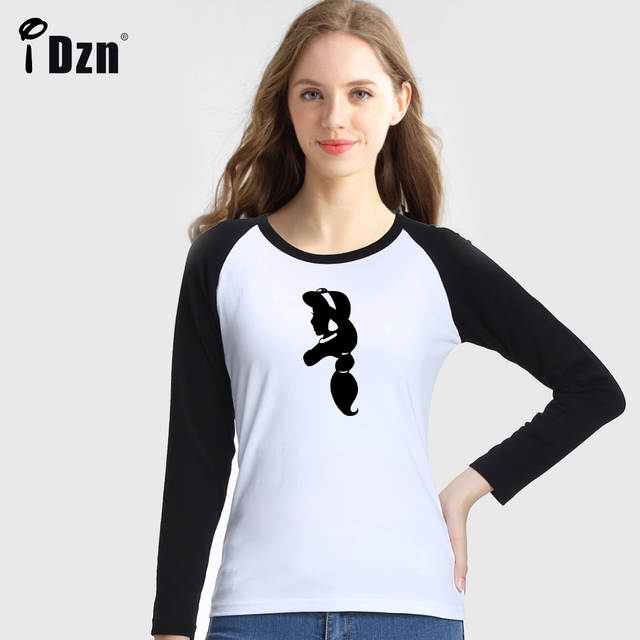 US $9 89 45% OFF|Women Long Sleeve T shirt Cinderella Silhouette Peter and  Wendy Crazy Jasmine Ariel Belle Snow White Alice Rapunzel Tees Tops-in