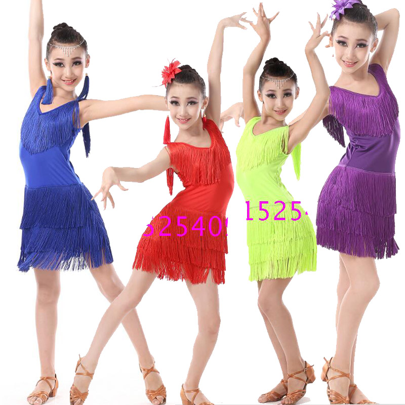 Girls Sequined Tassels Latin Dance Competition dress Kids Ballroom Tango Salsa Fringe costumesDress child dancewear outfits