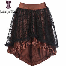 Женская ассиметричная юбка черный корсет аксессуары на молнии